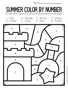 Color by Number Summer Preschool Worksheets Sandcastle