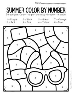 Color by Number Summer Preschool Worksheets Sunglasses and Sunscreen
