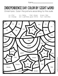 Color by Sight Word Independence Day Kindergarten Worksheets Banners and Stars