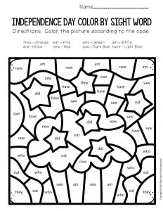 Color by Sight Word Independence Day Kindergarten Worksheets Cupcake