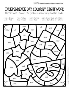 Color by Sight Word Independence Day Kindergarten Worksheets Summer Treats