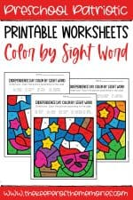 Color by Sight Word Independence Day Preschool Worksheets