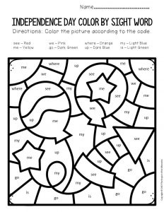 Color by Sight Word Independence Day Preschool Worksheets Balloons and Firecracker