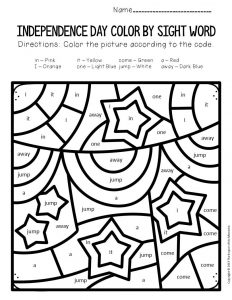 Color by Sight Word Independence Day Preschool Worksheets Banners and Stars