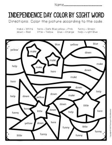 Color by Sight Word Independence Day Preschool Worksheets Heart and Pinwheel