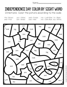 Color by Sight Word Independence Day Preschool Worksheets Summer Treats