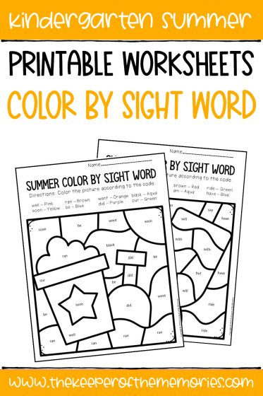 collage of Color by Sight Word Kindergarten Worksheets with text overlay: Kindergarten Summer Printable Worksheets Color by Sight Word