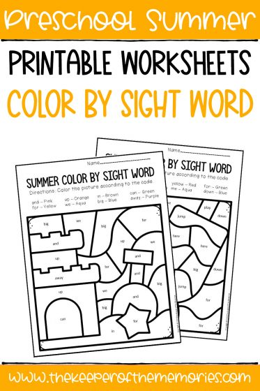collage of Color by Sight Word Summer Preschool Worksheets with text overlay: Preschool Summer Printable Worksheets Color by Sight Word