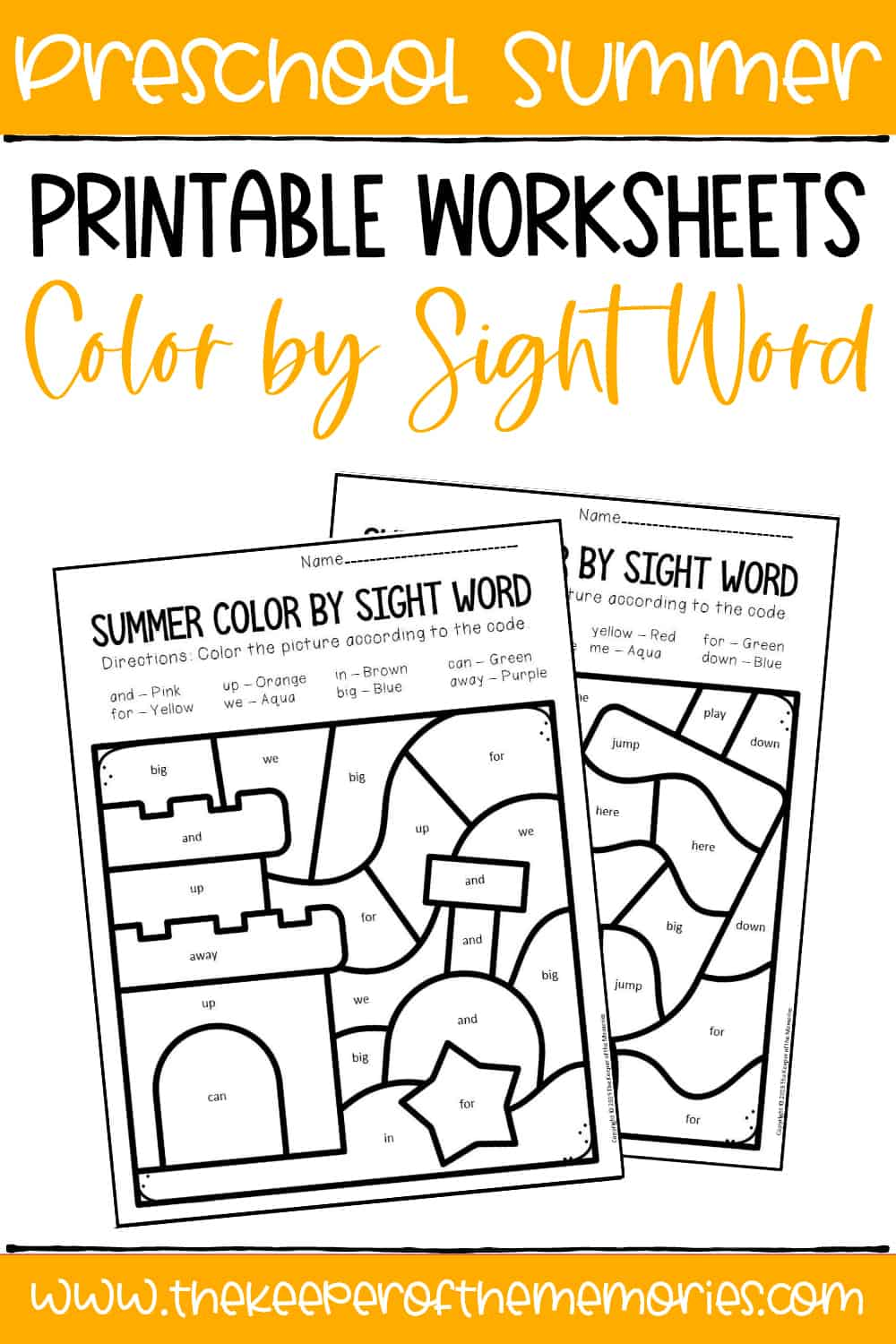 Color by Sight Word Summer Preschool Worksheets