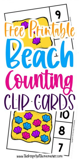 Seashell Counting Clip Cards