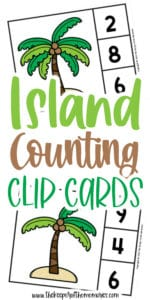 Palm Tree Counting Clip Cards with text: Island Counting Clip Cards