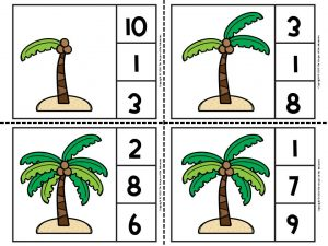 Printable Island Counting Clip Cards