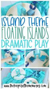 collage of island theme blocks activity images with text overlay: Island Theme Floating Islands Dramatic Play