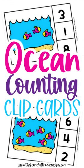 Ocean Fish Clip Cards with text: Ocean Counting Clip Cards