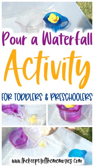 collage of waterfall activity images with text: Pour A Waterfall Activity for Toddlers & Preschoolers