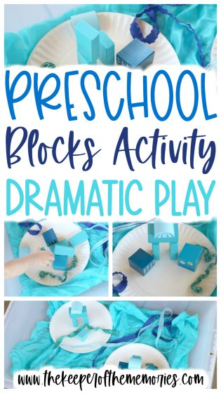 collage of island theme blocks activity images with text overlay: Preschool Blocks Activity Dramatic Play