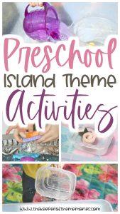 collage of preschool island theme activities with text: Preschool Island Theme Activities