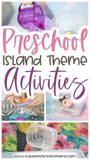collage of preschool island theme activities with text: Preschool Island Theme Activities