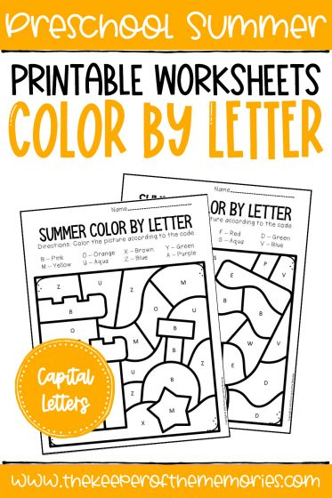 Summer Color by Capital Letter with text: Preschool Summer Printable Worksheets Color by Letter Capital Letters