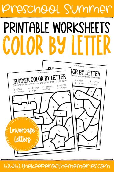Summer Color by Lowercase Letter with text: Preschool Summer Printable Worksheets Color by Letter Lowercase Letters