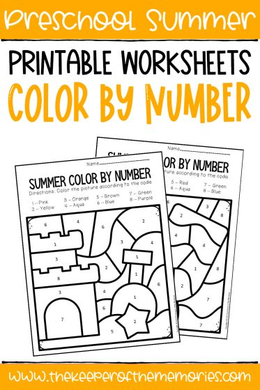 Summer Color by Number with text Preschool Summer Printable Worksheets Color by Number
