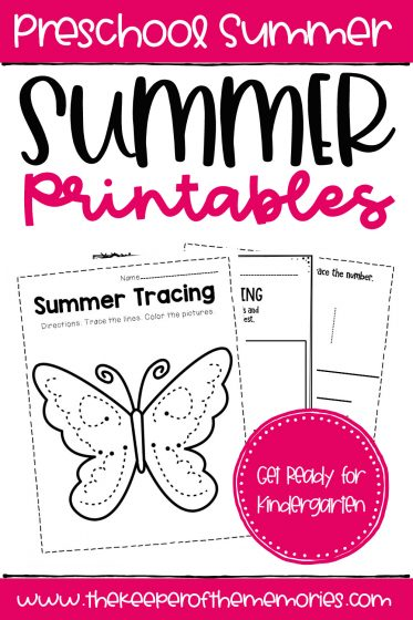 collage of Summer Printables with text: Preschool Summer Summer Printables Get Ready for Kindergarten