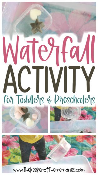 collage of waterfall activity images with text overlay: Waterfall Activity for Toddlers & Preschoolers