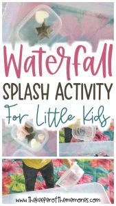 collage of waterfall activity images with text overlay: Waterfall Splash Activity for Little Kids