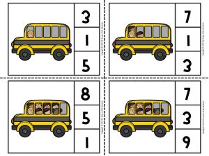 Back to School Counting Clip Cards 1