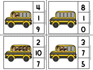 Back to School Counting Clip Cards 2