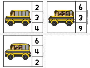 Back to School Counting Clip Cards 3