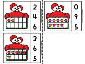 Printable Beach Counting Clip Cards