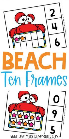 Beach Ten Frame Clip Cards with text: Beach Ten Frames