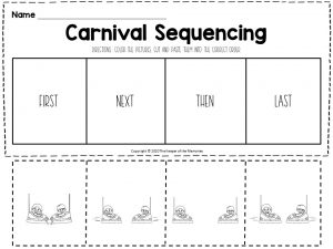 Carnival Sequencing Worksheets Bumper Cars