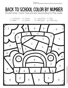 Color by Number Back to School Kindergarten Worksheets Bus