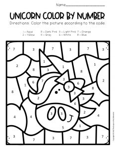 Free Color by Number Unicorn Printables Unicorn with Hair Bow