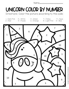 Free Color by Number Unicorn Printables Unicorn with Rainbow