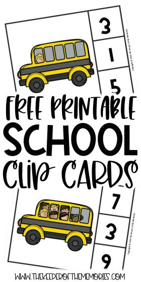 School Counting Clip Cards with text: Free Printable School Clip Cards