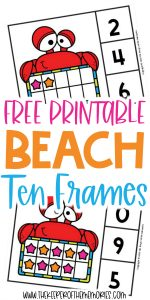 Beach Ten Frame Clip Cards with text: Free Printable Beach Ten Frames