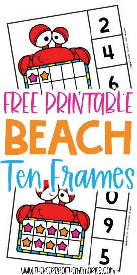 Beach Ten Frame Clip Cards with text: Free Printable Beach Ten Frames