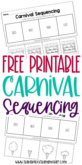 collage of carnival worksheets with text: Free Printable Carnival Sequencing