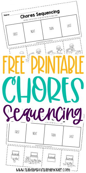 collage of chores worksheets with text: Free Printable Chores Sequencing