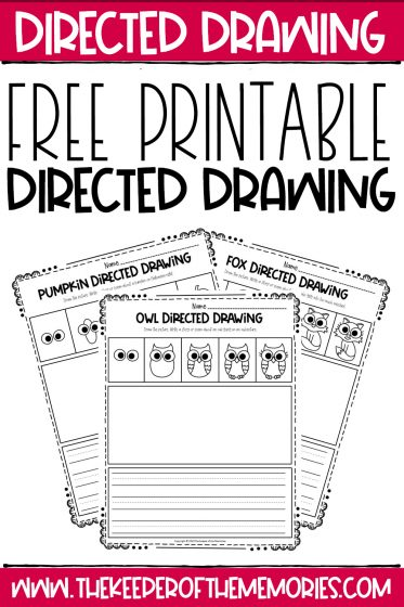 Fall Directed Drawing Printables with text: Free Printable Directed Drawing