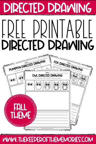 Fall Directed Drawing Printables with text: Free Printable Directed Drawing Fall Theme