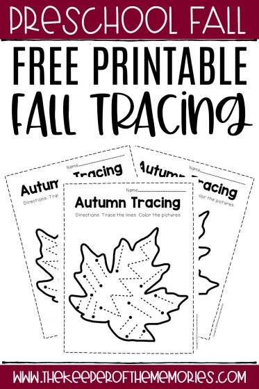 collage of fall tracing worksheets with text: Free Printable Fall Tracing
