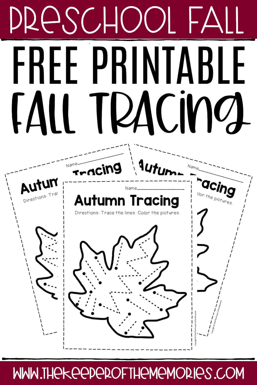 Free Printable Tracing Fall Preschool Worksheets