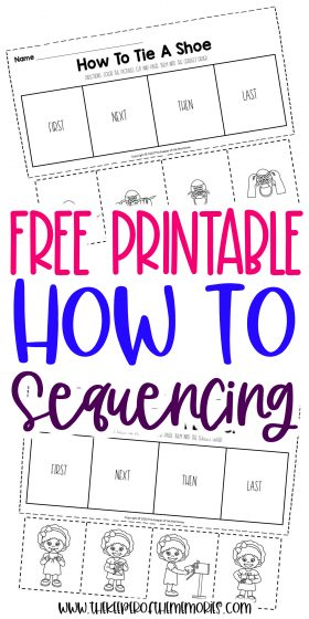 collage of how to worksheets with text: Free Printable How To Sequencing