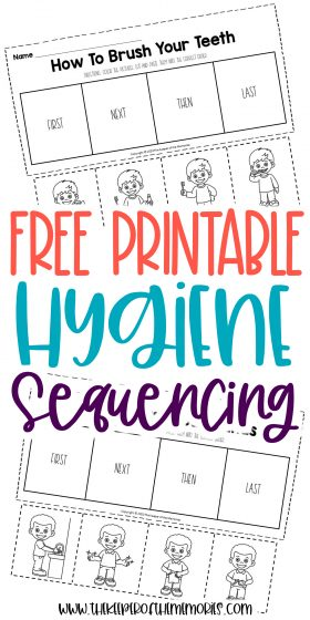 collage of hygiene worksheets with text: Free Printable Hygiene Sequencing