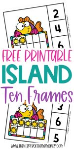 Island Ten Frame Clip Cards with text: Free Printable Island Ten Frames