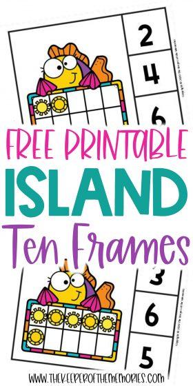 Island Ten Frame Clip Cards with text: Free Printable Island Ten Frames